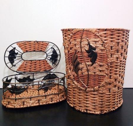 ست سطل و جا دستمال کاغذي حصیری در هایپرشاین