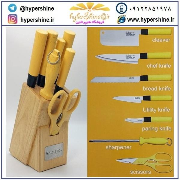 سرویس چاقو 8 پارچه شیمازو طرح چوب